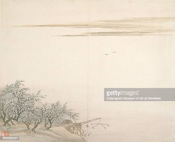 Fisherman by Plum Trees by Chinese artist Gu Haoqing 17661836 Gift of Mrs John H Roberts Jr