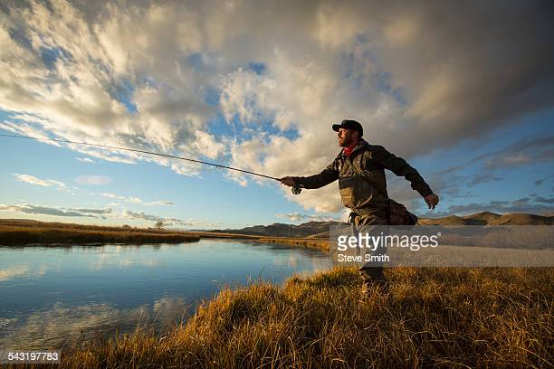 fisherman casting in river - fly fishing stock photos and pictures
