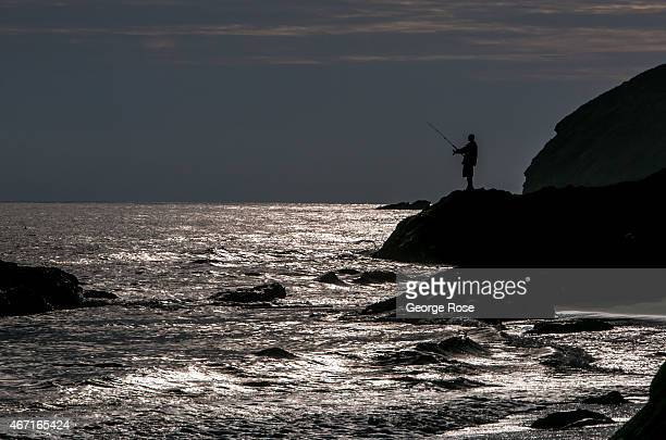 A fisherman casts his line off the rocks at Gaviota State Beach on March 10 near Santa Barbara California Because of its close proximity to Southern...