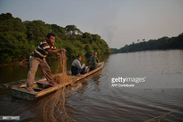 Fisherman Edmilson Ferreira places a net to fish arapaima also known as pirarucu in the Western Amazon region near Volta do Bucho in the Ituxi...