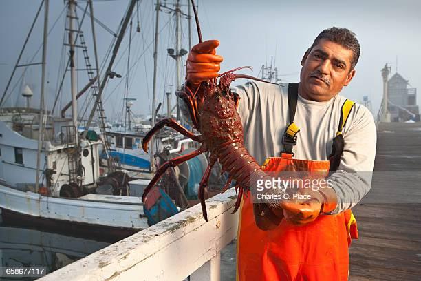 fisherman holding large lobster