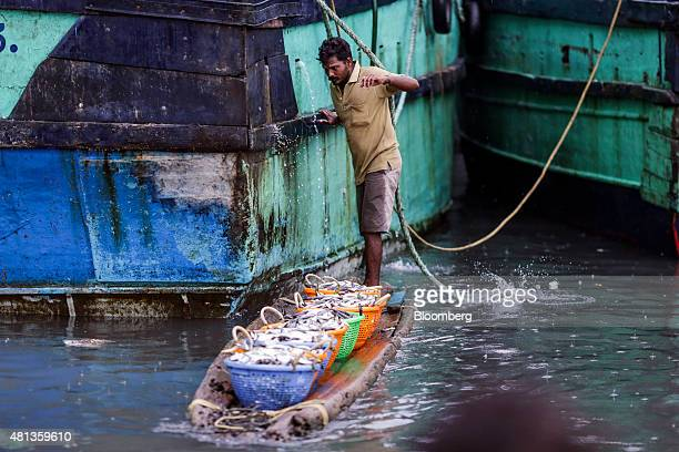 A fisherman holds onto a trawler as he transports baskets of fish on a raft near the Kasimedu fish market at the Royapurum fishing harbour in Chennai...