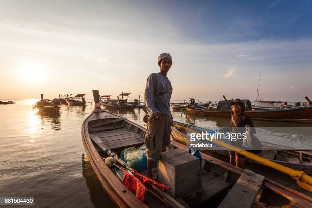 Fisherman in Thailand at Sunset