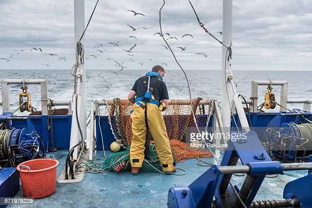 fisherman inspecting trawl net on research ship - fishing industry stock pictures, royalty-free photos & images