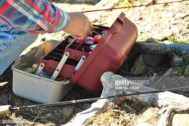 Fisherman making preparation for fishing