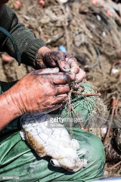 fisherman mending his nets comporta, portugal - comporta portugal fotografías e imágenes de stock