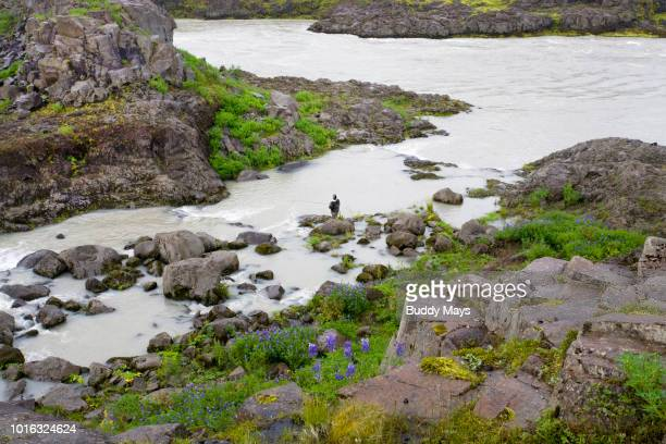 Fisherman on a river in Iceland
