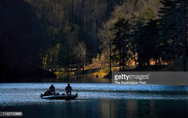 Fisherman on Berwind Lake in Berwind West Virginia on 3/11/19 Many of the fisherman said that they often use local crayfish from nearby creeks for...