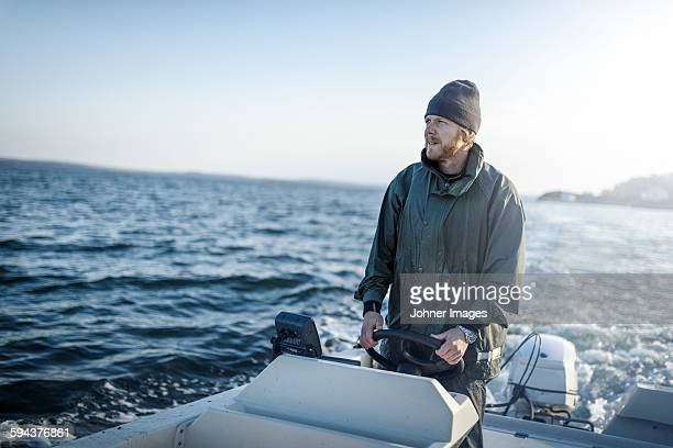 Fisherman on boat