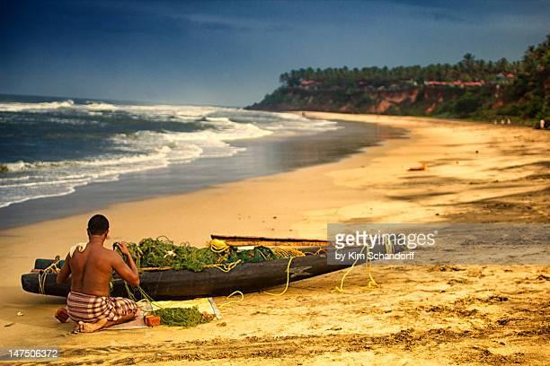 Fisherman preparing boat