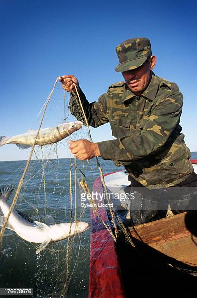 CONTENT] A fisherman pulls in his nets on the Aral sea near Aralsk Kazakhstan the 10th of September 2007 The building of a dyke on dried out Aral sea...