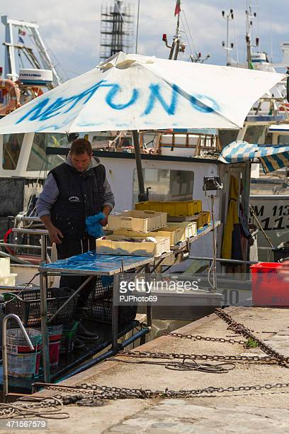 Fisherman sell fresh fish at port