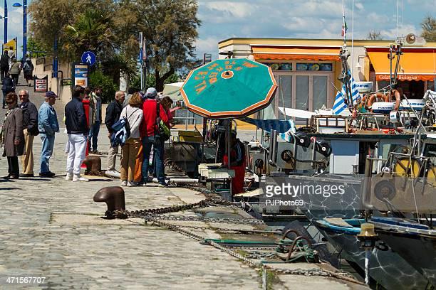 Fisherman sell fresh fish at port