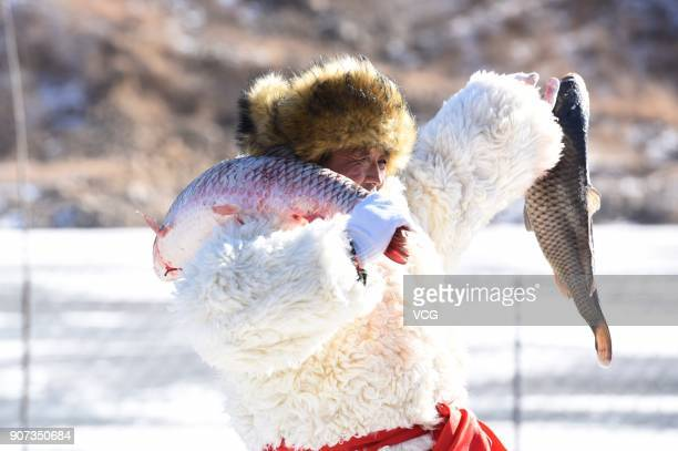 A fisherman shows a caught fish during winter fishing festival on Chagan Lake on January 19 2018 in Huhhot Inner Mongolia Autonomous Region of China...
