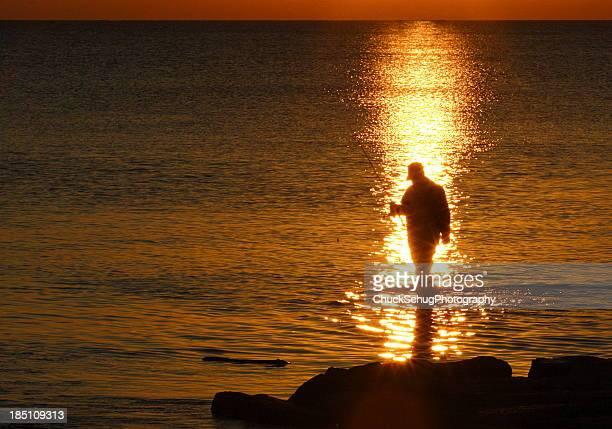 Fisherman Silhouette Sunrise Lake