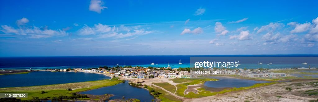 Fisherman town in a tropical island in the caribbean : Stock Photo