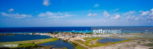 Fisherman town in a tropical island in the caribbean