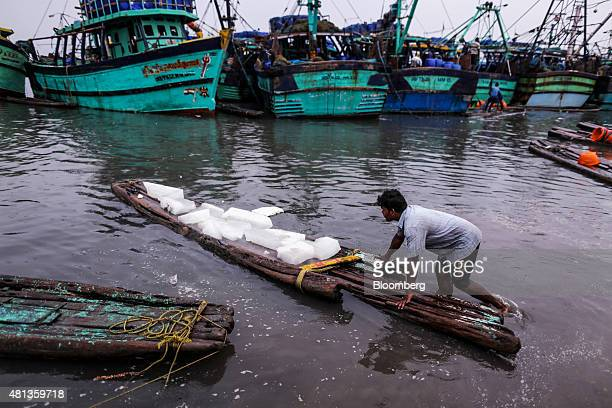 A fisherman transports blocks of ice to trawlers on a raft near the Kasimedu fish market at the Royapurum fishing harbour in Chennai India on...