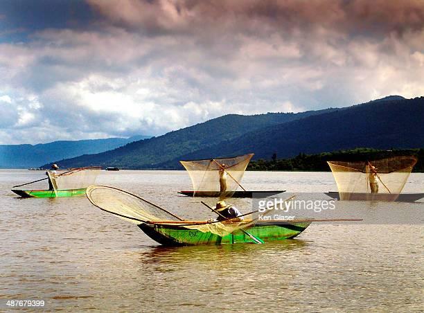 Fisherman with butterfly nets off Isla Janitzio