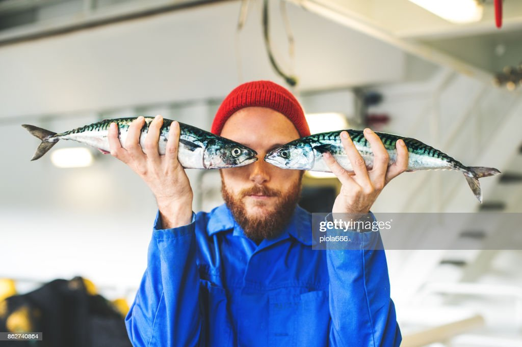 Fisherman with fresh fish on the fishing boat deck : Stock Photo