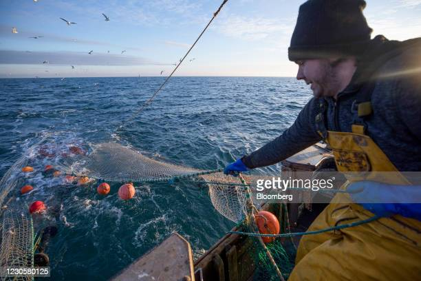 Fisherman works to bring in a haul onto the boat 'About Time' in the English Channel from the Port of Newhaven in Newhaven, U.K. On Sunday, Jan. 10,...