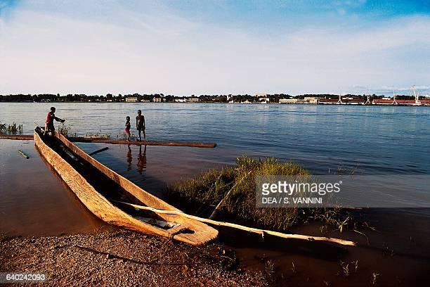 Fisherman's boat on the Congo river Kisangani Democratic Republic of the Congo