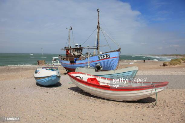 fishermans boats on beach at nørre vorupør - pejft stock pictures, royalty-free photos & images