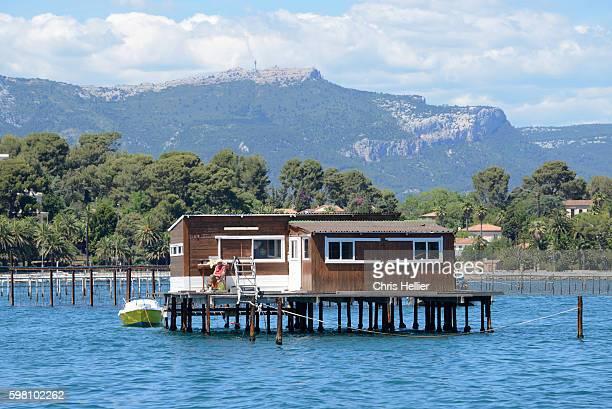 fisherman's hut mussel beds toulon - alpes de haute provence stock pictures, royalty-free photos & images