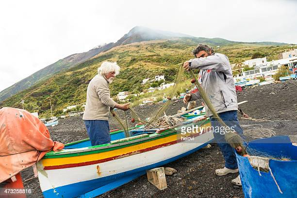 fishermans on stromboli island - aeolian islands stock pictures, royalty-free photos & images