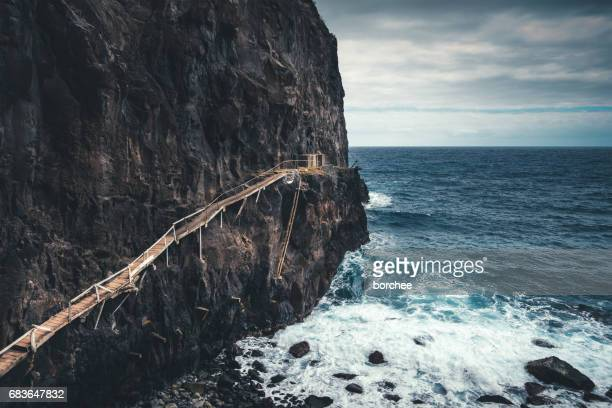 fisherman's path on madeira island - madeira island stock photos and pictures