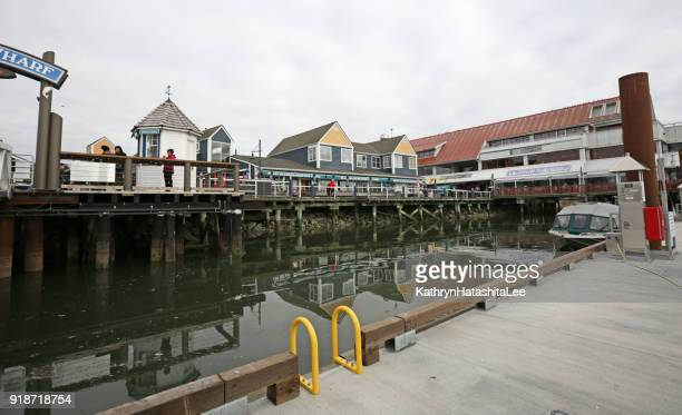 fisherman's wharf at steveston, british columbia, canada - richmond british columbia stock photos and pictures
