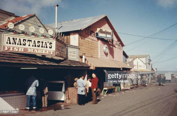 Fisherman's Wharf in Monterey California USA circa 1962 Pictured are Anastasia's Fish Market and the Abalone Chowder House