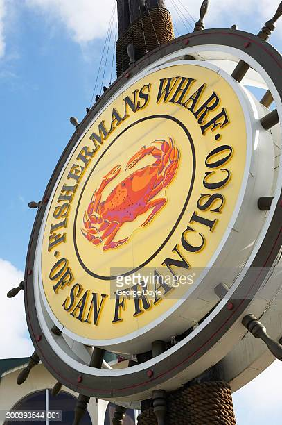 'fisherman's wharf of san francisco' sign, close-up - fishermans wharf stock pictures, royalty-free photos & images