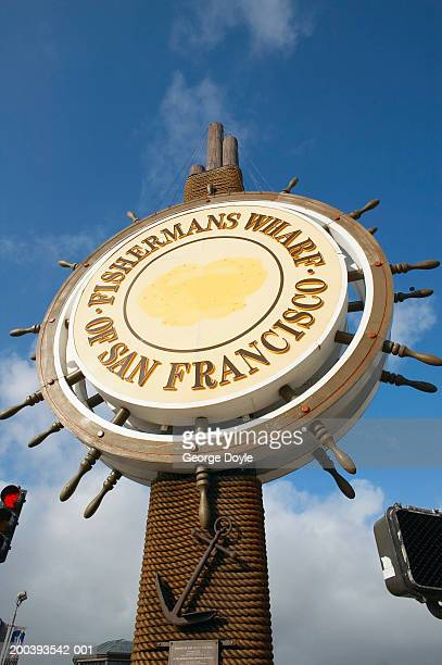 'fisherman's wharf of san francisco' sign - fishermans wharf stock pictures, royalty-free photos & images