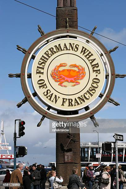 fishermans wharf sign in san francisco - fishermans wharf stock pictures, royalty-free photos & images