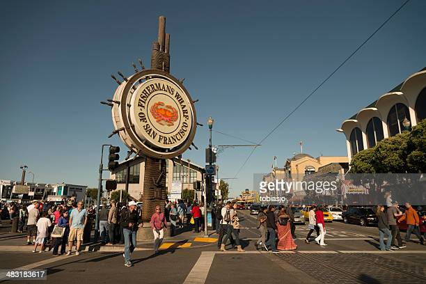 fisherman's wharf sign in san francisco - fishermans wharf stock pictures, royalty-free photos & images