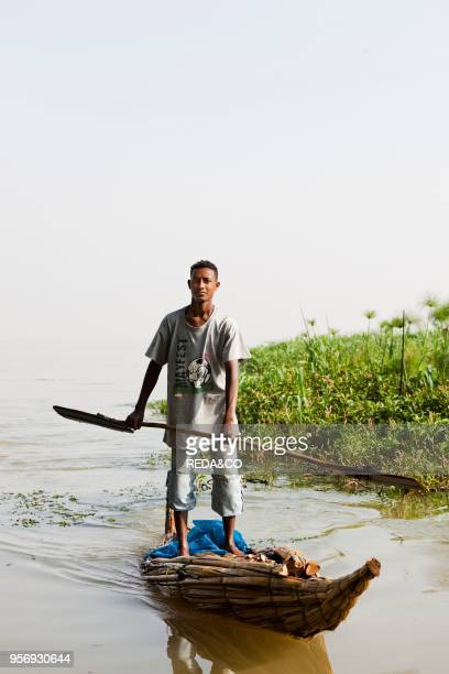 Fishermen at Lake Tana Ethiopia The fishermen of Lake Tana are still using the traditional canoe like boats made from papyrus These boats are called...