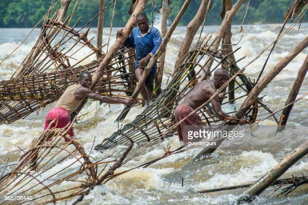 fishermen at the wagenia falls, kisangani, congo river - democratic republic of the congo stock photos and pictures