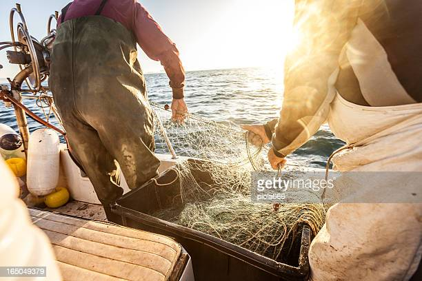 Fishermen at work, pulling the nets