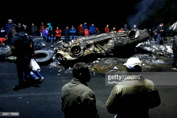 Fishermen Block the entrance to the city of Ancud in Pudeto Bridge in southern Chile on May 10 2016 Fishermen protest against the government for the...