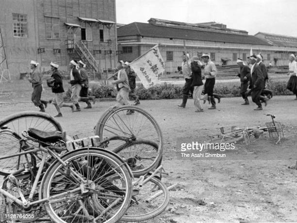 Fishermen break into the Japan New Chisso Minamata Factory to demand the halt of waste water discharge on November 2 1959 in Minamata Kumamoto Japan