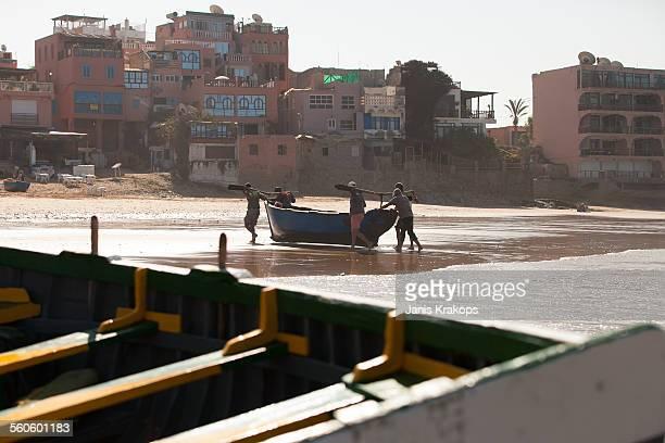 Fishermen carried boat