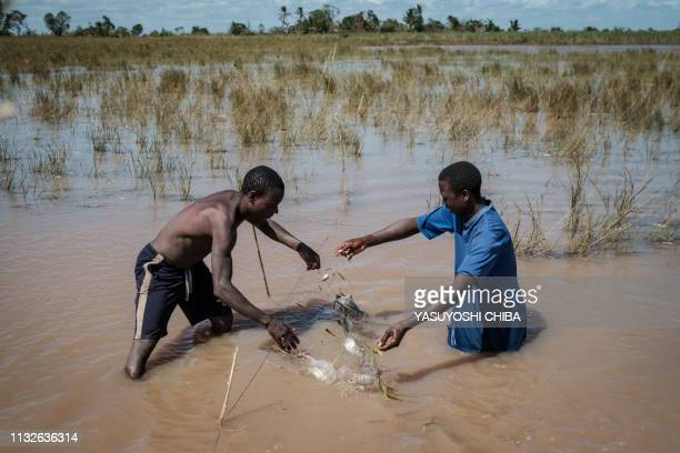 Fishermen catch fishes in a flooded area hit by the Cyclone Idai in Tica Mozambique on March 24 2019 Cyclone Idai smashed into Mozambique's coast...