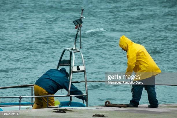 fishermen docking fishing boat. rias baixas, pontevedra province, galicia, spain. - provincia di pontevedra foto e immagini stock