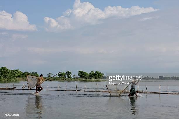 Fishermen go for catching fish in Dingapota Haor or Dingapota Extensive marsh in Mohonganj in Netrokona district Jalalpur Mohonganj Netrokona...