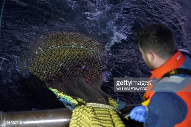 Fishermen haul in their nets as they work aboard the Good Fellowship fishing trawler trawling the sea bed for prawns and other crustaceans in the...