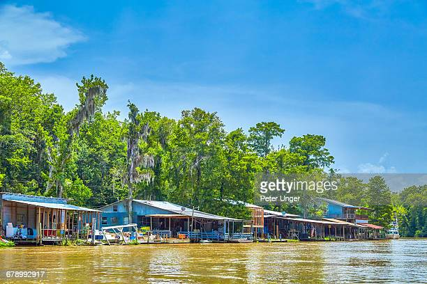Fishermen houses on swamp river,Louisiana