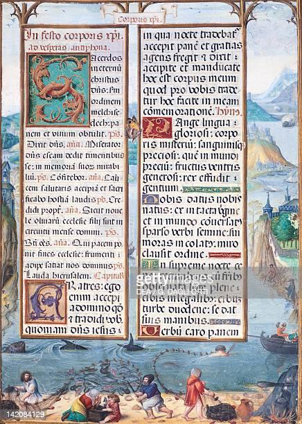 Fishermen miniature from Book of Hours of the Countess of Bertiandos Latin manuscript 16th Century