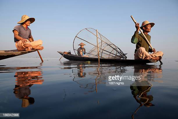 fishermen, myanmar - inle lake stock pictures, royalty-free photos & images