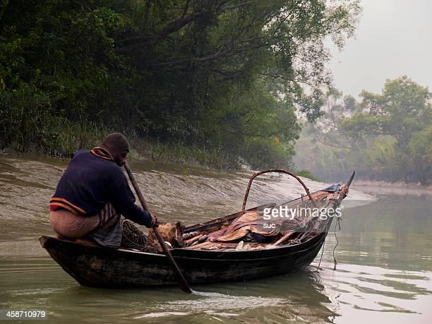 fishermen of sundarban - fishing in bangladesh stock photos and pictures